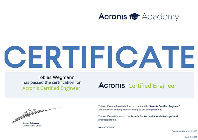 Certificato Acronis Academy